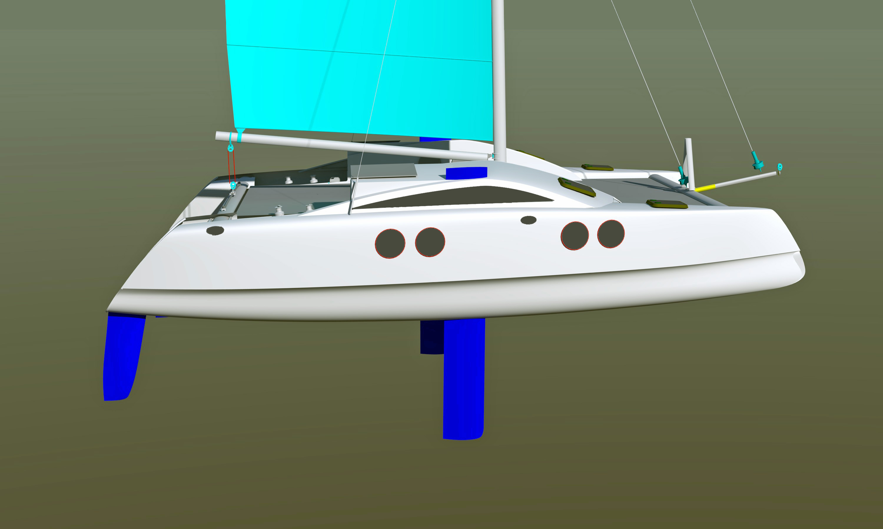Power catamaran designs - A Magazine Asked Me To Send Them A Design So It Was An Excuse To Tighten Up The Graphics Of The 27 Cat Upgrade Complete Study Plans Are Ready